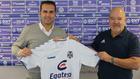 Rubén Baraja, entrenador del Tenerife, con el presidente Miguel...