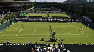 Una vista aérea de las pistas exteriores de Wimbledon