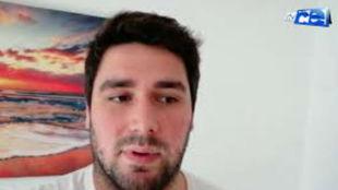 Paco Molina durante su intervención en la televisión ceutí, RTVCE,...