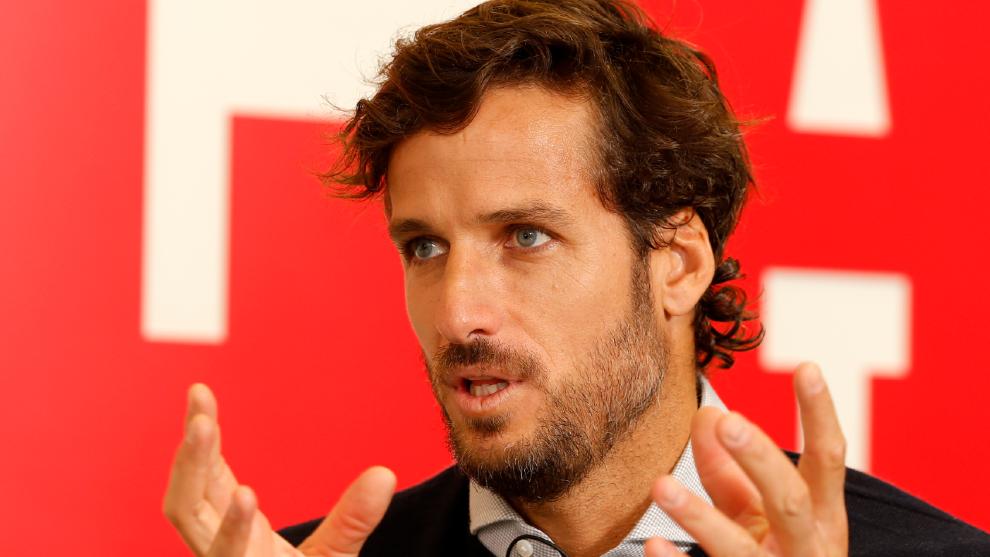 Feliciano López durante una entrevista en la redacción de MARCA.
