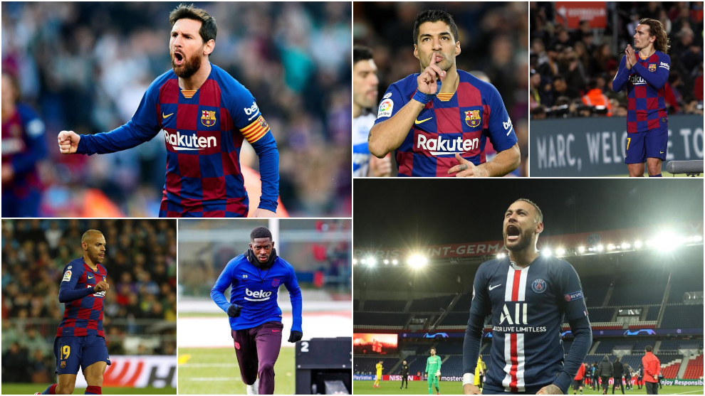 Messi, Suárez, Griezmann, Braithwaite, Dembélé y Neymar.