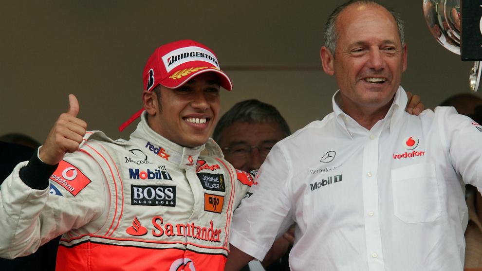 Lewis Hamilton y Ron Dennis.