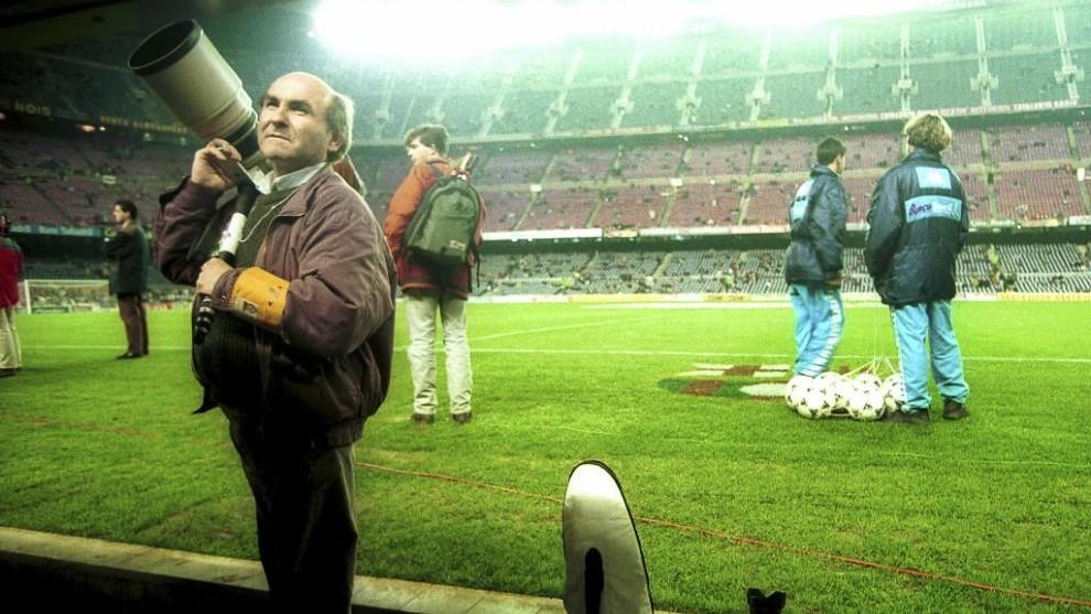 Miguel Moreno, en una imagen en el Camp Nou
