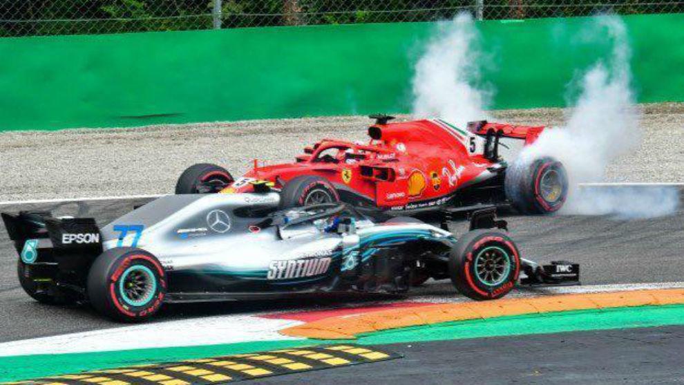 Vettel trompea delante de Hamilton en el GP de Italia de 2019.