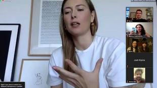 Sharapova, en una videollamada