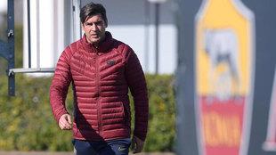 Paulo Fonseca, en un entrenamiento de la Roma.