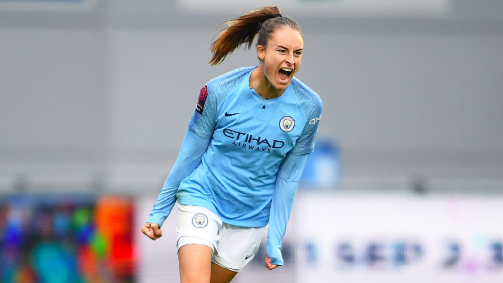 Tessa Wullaert celebra un gol con el Manchester City.
