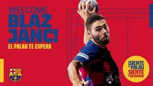 Cartel del fichaje del jugador internacional esloveno por el Barça /