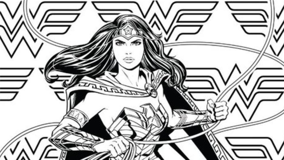 Boceto para colerear de Wonder Woman