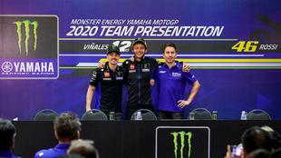 Viñales, Rossi y Lorenzo.