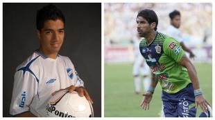 Luis Suárez, a la izquierda con Nacional. Abreu, a la derecha, con...