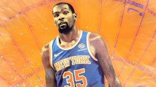 Montaje de Kevin Durant con la camiseta de los Knicks