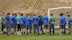 Los jugadores de la Real Sociedad, en un entrenamiento.
