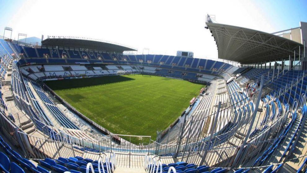 Una vista panorámica de La Rosaleda, el estadio del Málaga y el...