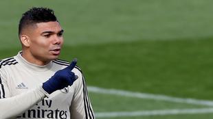 Casemiro, en un entrenamiento con el Real Madrid.