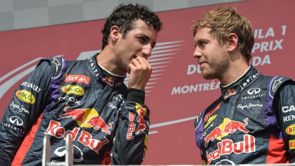 Ricciardo y Vettel, en el GP de Canadá de 2014.