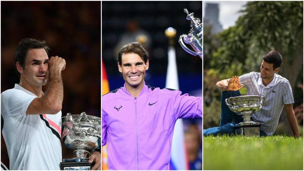 Federer, Nadal y Djokovic, con sus últimos trofeos del 'Grand Slam'