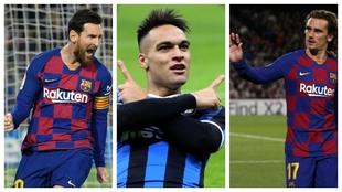 Messi, Lautaro y Griezmann