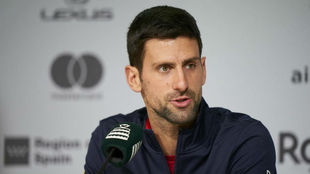 Novak Djokovic, en rueda de prensa.