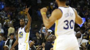 Durant y Curry durante su etapa en los Warriors