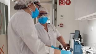 Dos miembros de personal sanitario trabajan con muestras de covid-19