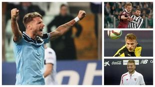 A la izquierda, Immobile celebra un gol con la Lazio. A la derecha,...