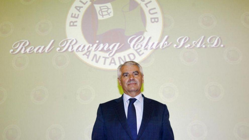 Francisco Pernía, durante una Junta de accionistas del Racing de...