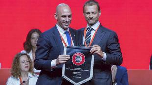 Rubiales y Ceferin, presidentes de Federación Española y UEFA.