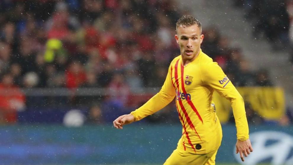Arthur, en el partido frente al Atlético de Madrid en el Wanda.
