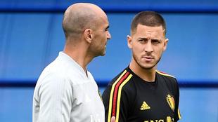 Roberto Martínez y Hazard, con la selección belga.