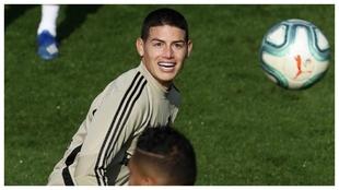James, durante un entrenamiento del Real Madrid.