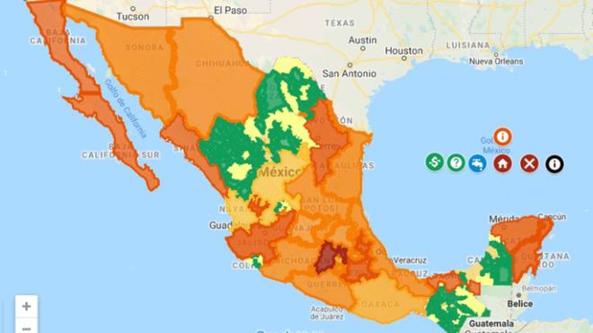 Mapa coronavirus por estados de la República Mexicana.