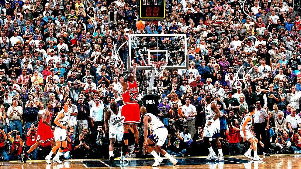 Michael Jordan anota el tiro ganador ante los Jazz para conquistar su...
