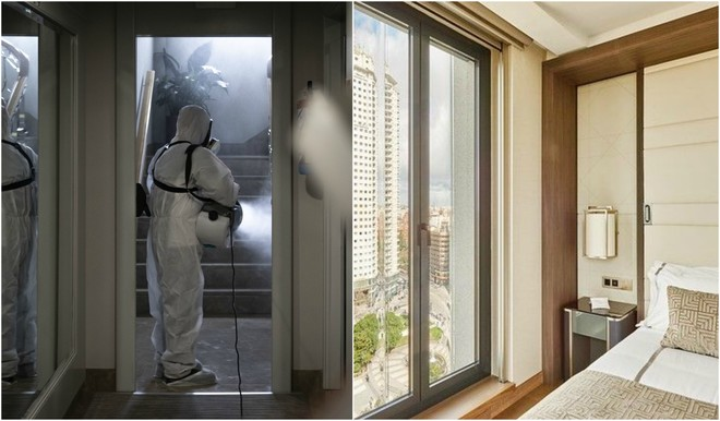 Un trabajador desinfecta zonas comunes y habitaciones del hotel.