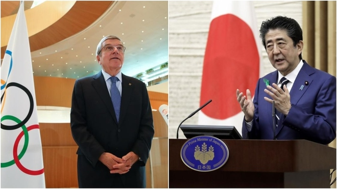 Thomas Bach y Shinzo Abe.