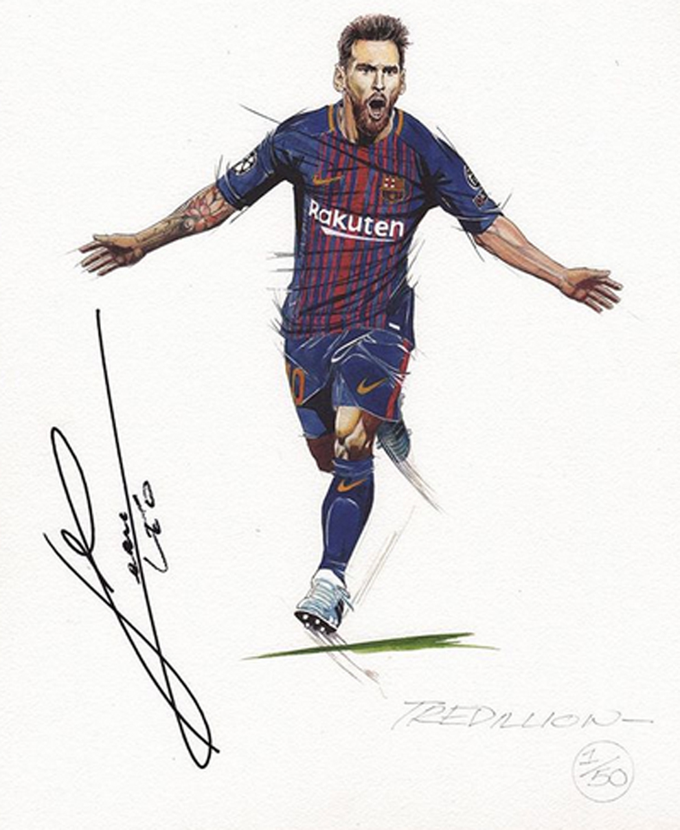 Espectacular dibujo de Leo Messi del famoso Paul Trevillion
