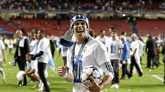 Gareth Bale celebrating Real Madrid' tenth European Cup success.