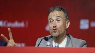 El seleccionador nacional, Luis Enrique, durante una conferencia de...