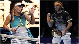 Caroline Wozniacki y Stefanos Tsitsipas.