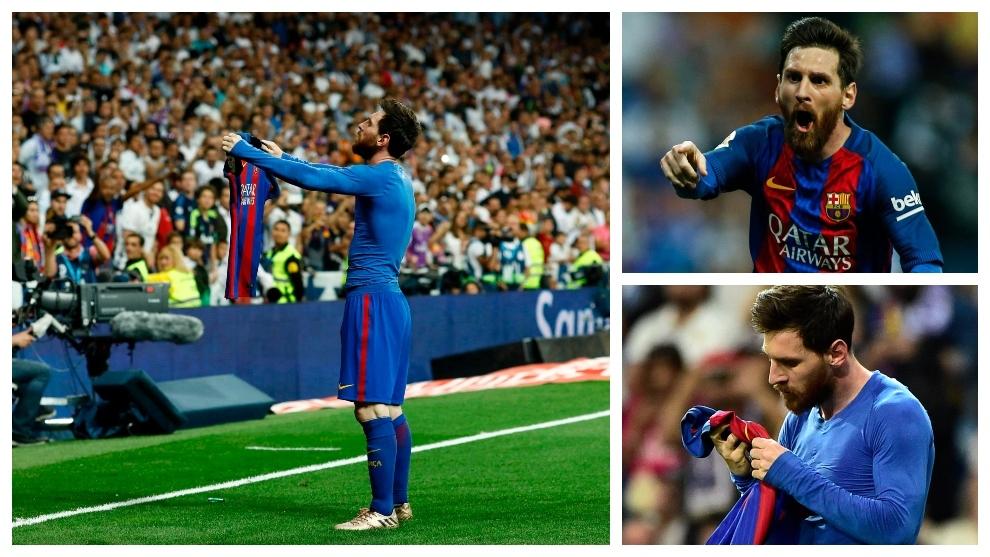 Messi mostrando la camiseta al Bernabéu en El Clásico Real Madrid...