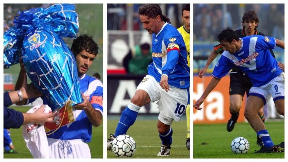 Pep Guardiola, a la izquierda; Baggio, en el medio; y Luca Toni, a la...