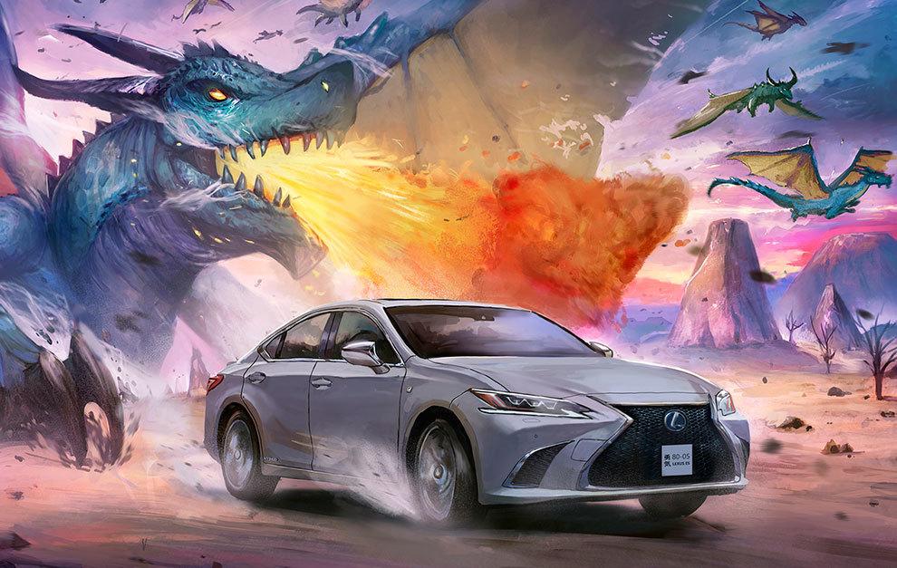 Un dragón persigue a este Lexus ES.