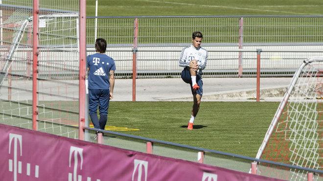 Coutinho, entrenándose en solitario con el Bayern
