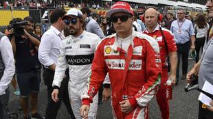 Raikkonen y Alonso.
