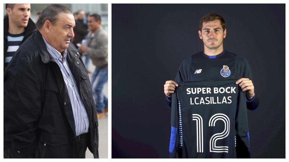 A la izquierda, Santos Márquez. A la derecha, Casillas en su...