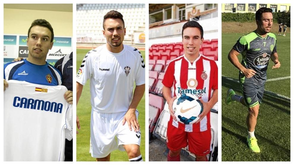 Adriá Carmona, con sus cuatro equipos españoles: Zaragoza, Albacete,...