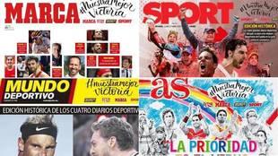 Las portadas de los cuatro diarios deportivos