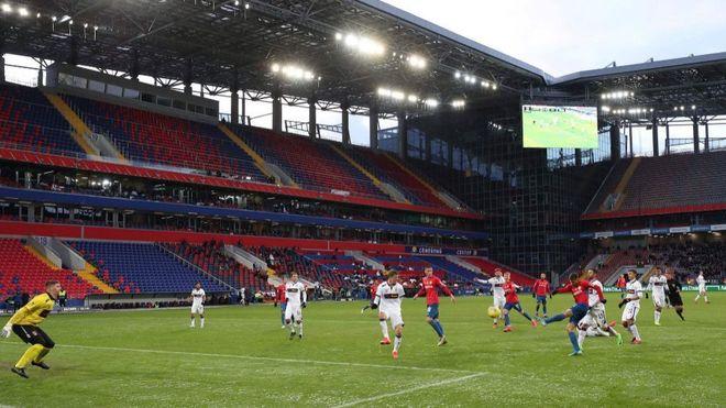 Partido de la Liga rusa entre CSKA y UFA.