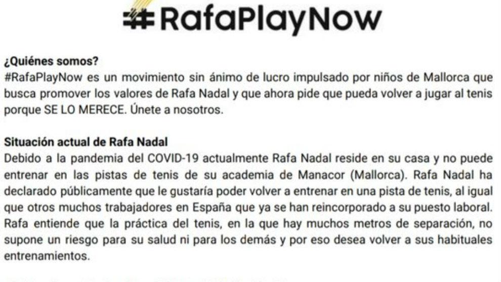 El documento que pide que Rafa pueda entrenar