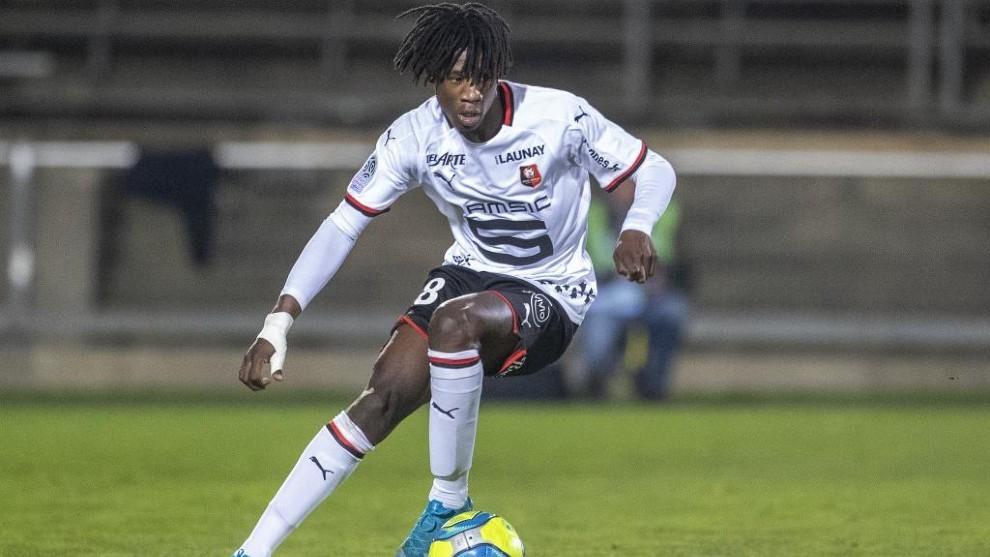 Camavinga, en un partido con el Rennes de esta temporada.